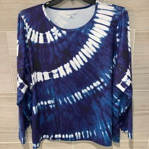 Lands End Navy Tie Dye Long-Sleeve Coverup 3X